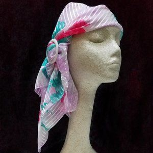 Floral Pink Teal Head Wrap Cancer Chemo Alopecia